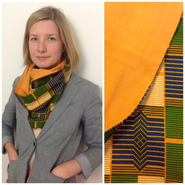 Mustard yellow kente print cowl: http://folksy.com/items/4455032-African-print-cotton-cowl-