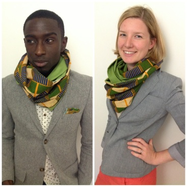 Kente print cowl with green contrast lining